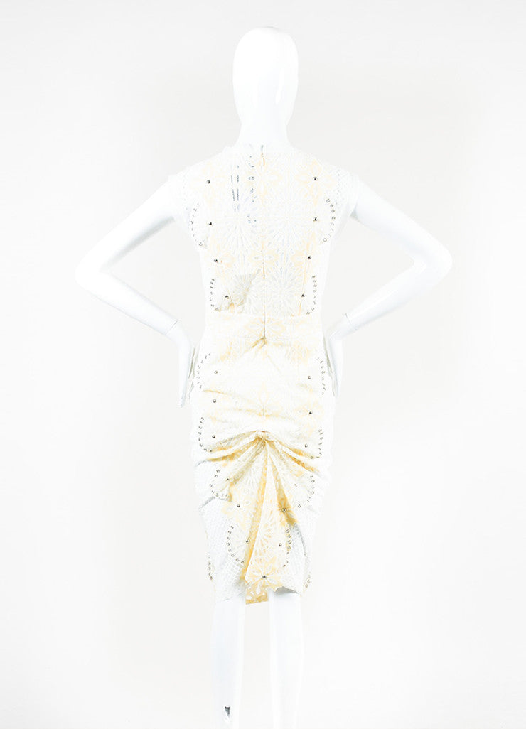 "Veronica Beard Cream and White Eyelet Lace Studded ""Evita"" Dress Backview"