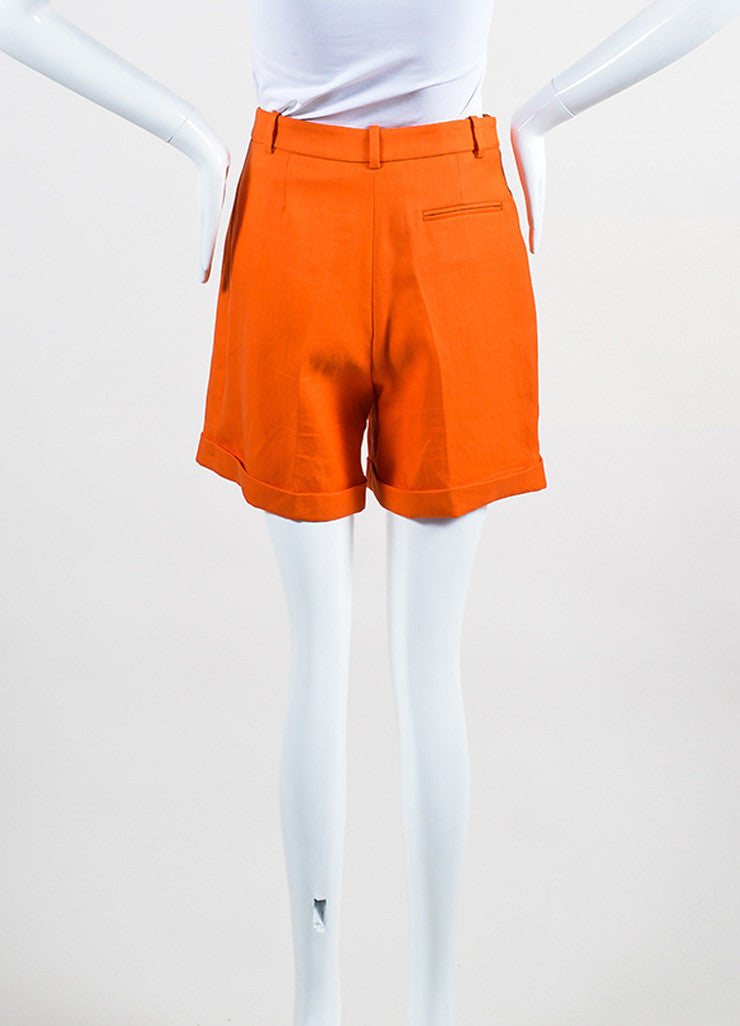 Bright Orange Versace Ramie High Waist Long Cut Cuffed Bermuda Shorts Backview