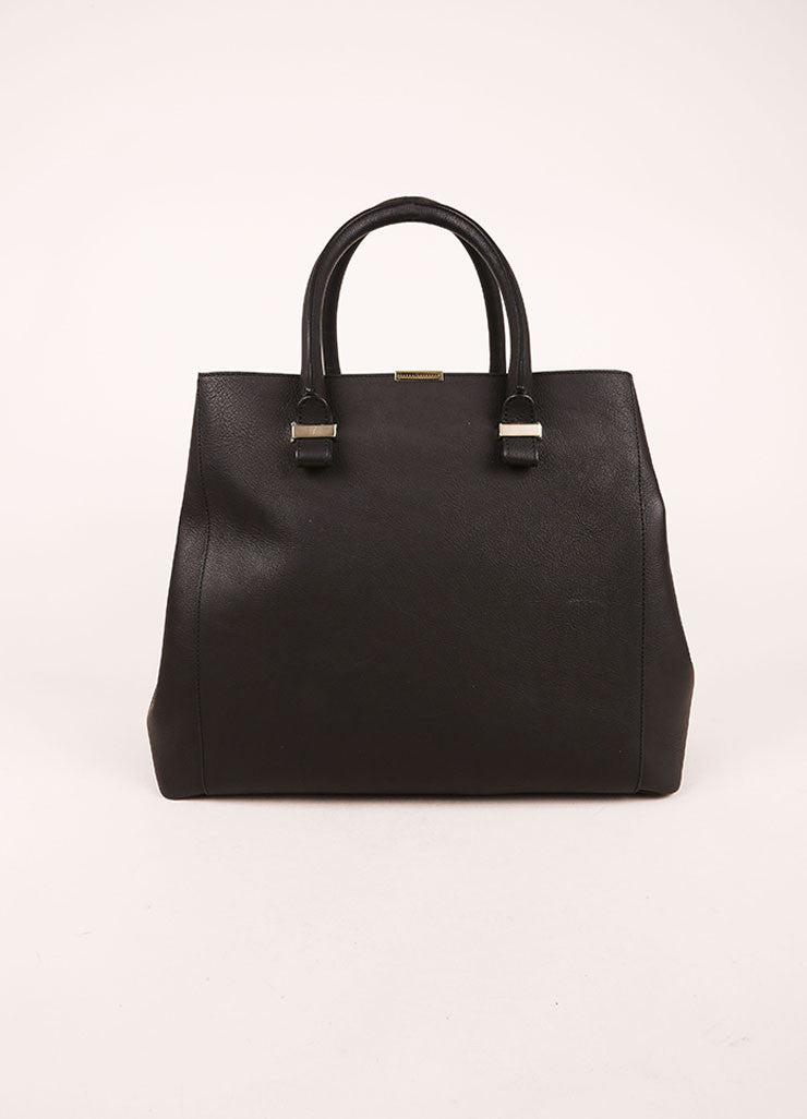 "Victoria Beckham Black Matte Grained Leather ""Liberty"" Tote Bag Frontview"