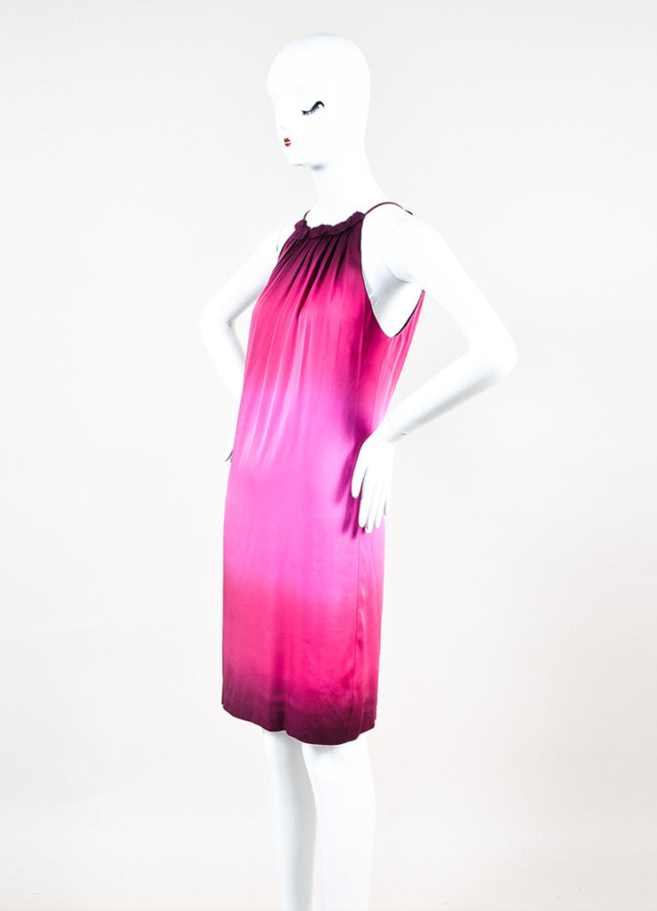 Vince Pink Silk Gradient Sleeveless Gathered Round Neckline Shift Dress Sideview