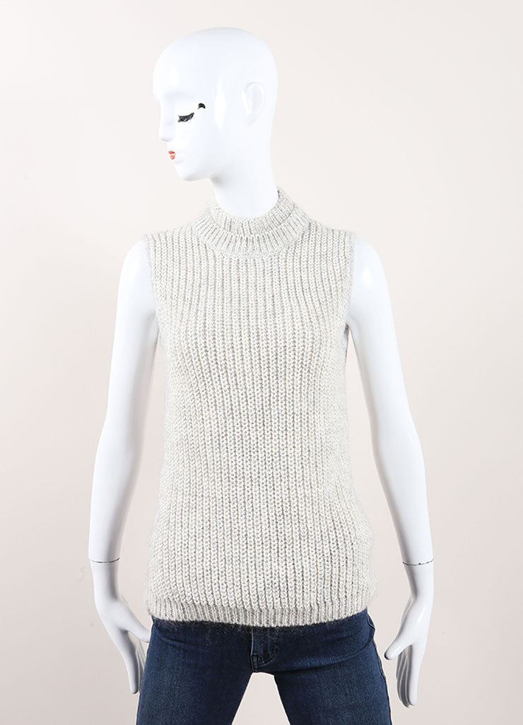 Grey Cotton and Mohair Knit Woven Turtleneck Sleeveless Top