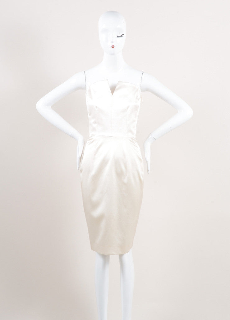 Yves Saint Laurent New With Tags Cream Silk Satin Corset Strapless Dress Frontview