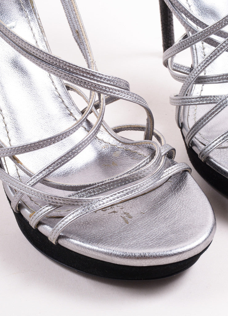 Yves Saint Laurent Silver and Black Metallic Leather Suede Trim Sandals Detail