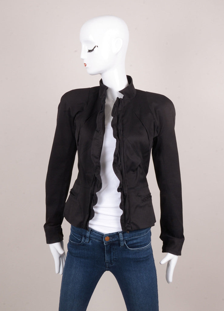 Black Cotton and Silk Ruffle Trim Short Fitted Zip Jacket