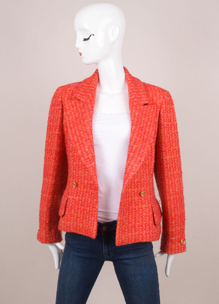 Chanel Red and Pink Tweed Long Sleeve Jacket Frontview