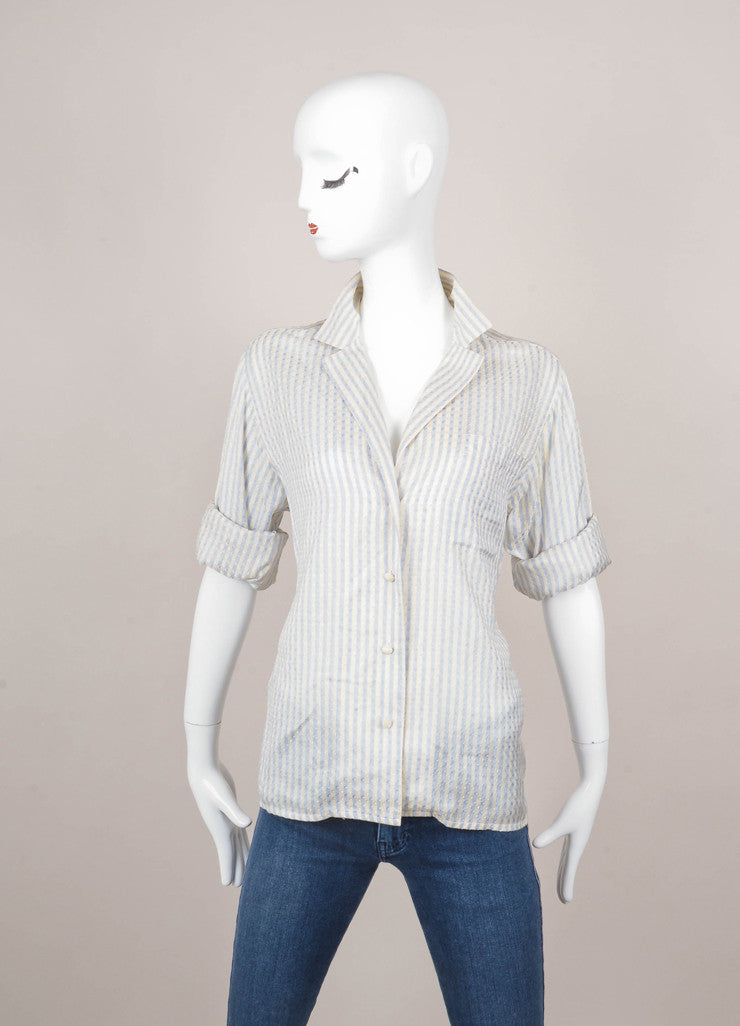Cream and Blue Silk Striped Button Down Blouse