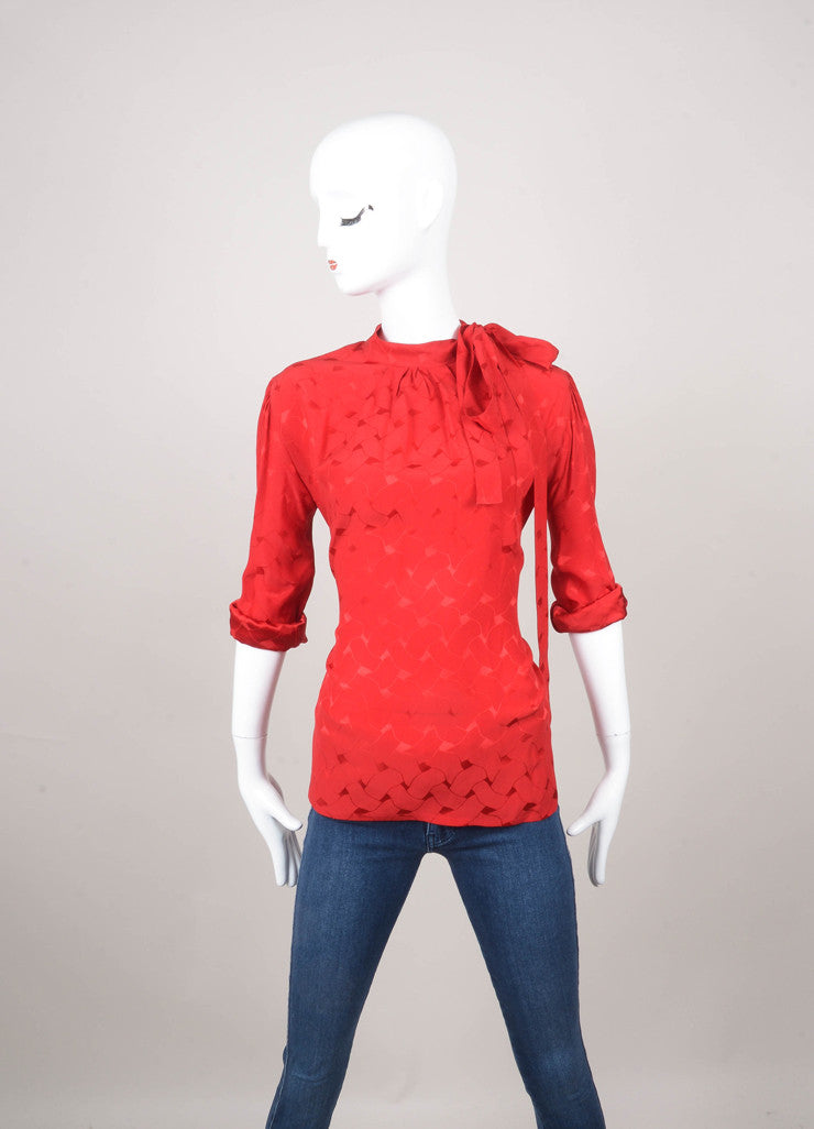 Red Long Sleeve Tie Front Patterned Silk Blouse