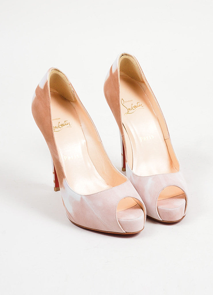 "Tan and Blush Print Suede Christian Louboutin ""Very Prive Woodstock"" Heels Frontview"