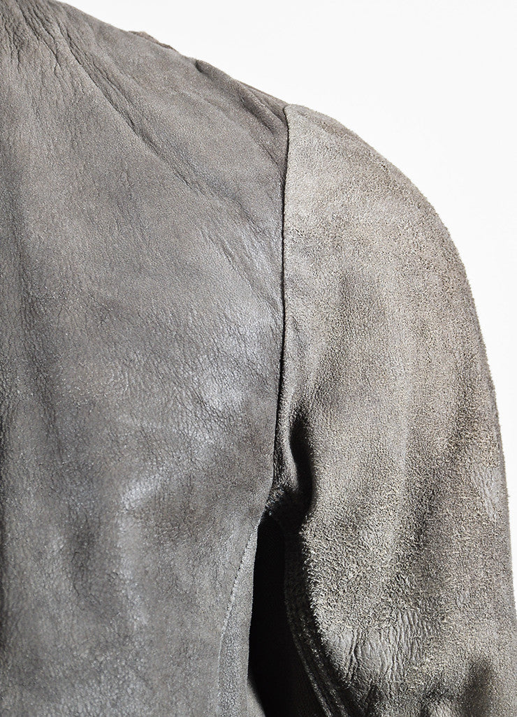 Taupe •ÈÀRick Owens Leather Knit Panel Draped Open Jacket Detail