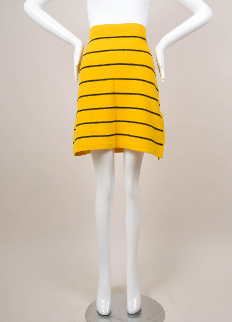 Navy and Yellow Striped Short Sleeve Sweater and Skirt Set
