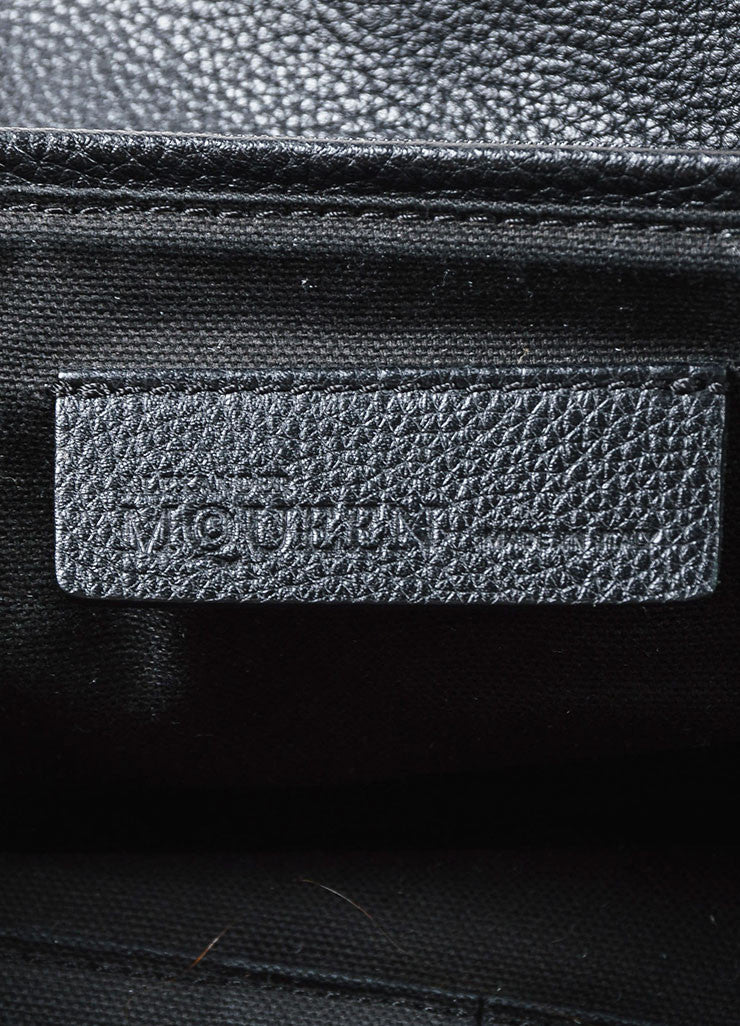 Alexander McQueen Black Grained Leather Skull Padlock Satchel Bag Brand