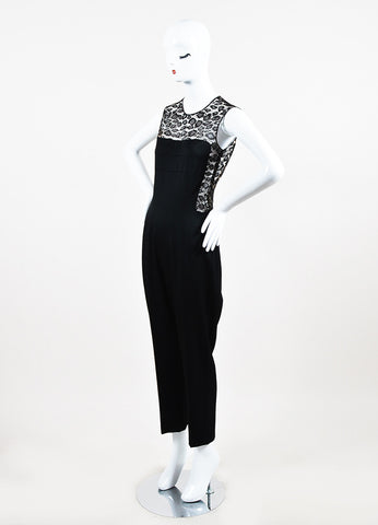 Alexander McQueen Black Crepe and Lace Leopard Patterned Inset Jumpsuit Sideview