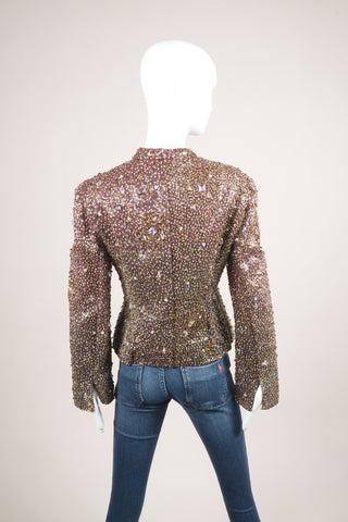 Badgley Mischka Burgundy and Multicolor Sequin Beaded Embellishment Long Sleeve Jacket Backview