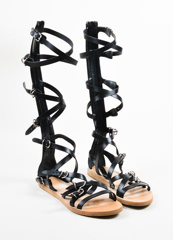 "Balenciaga Black Leather Buckle Strap Gladiator ""Papier"" Sandals Frontview"