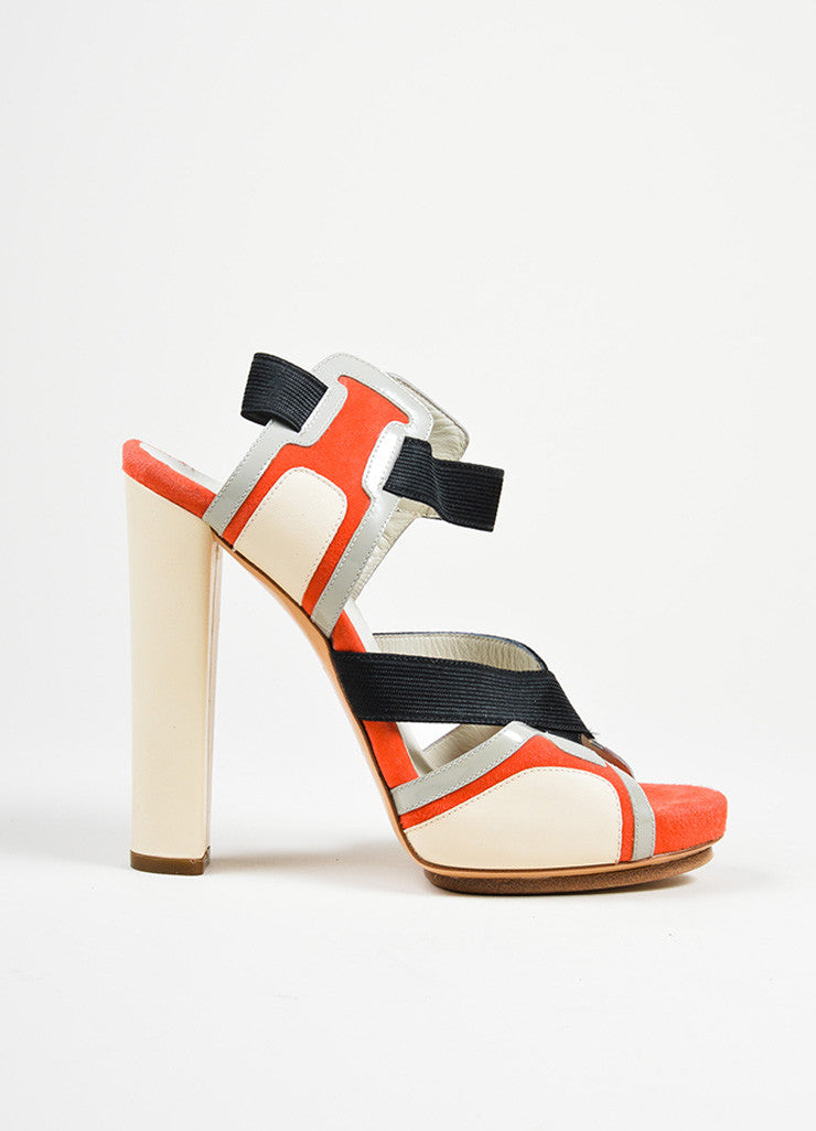 Red and Black Balenciaga Leather Elastic Crisscross High Heel Sandals Sideview