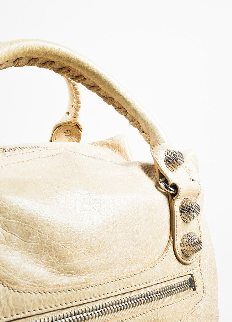 "Balenciaga Beige Distressed Leather ""Giant Midday"" Silver Toned Stud Shoulder Bag Detail 2"