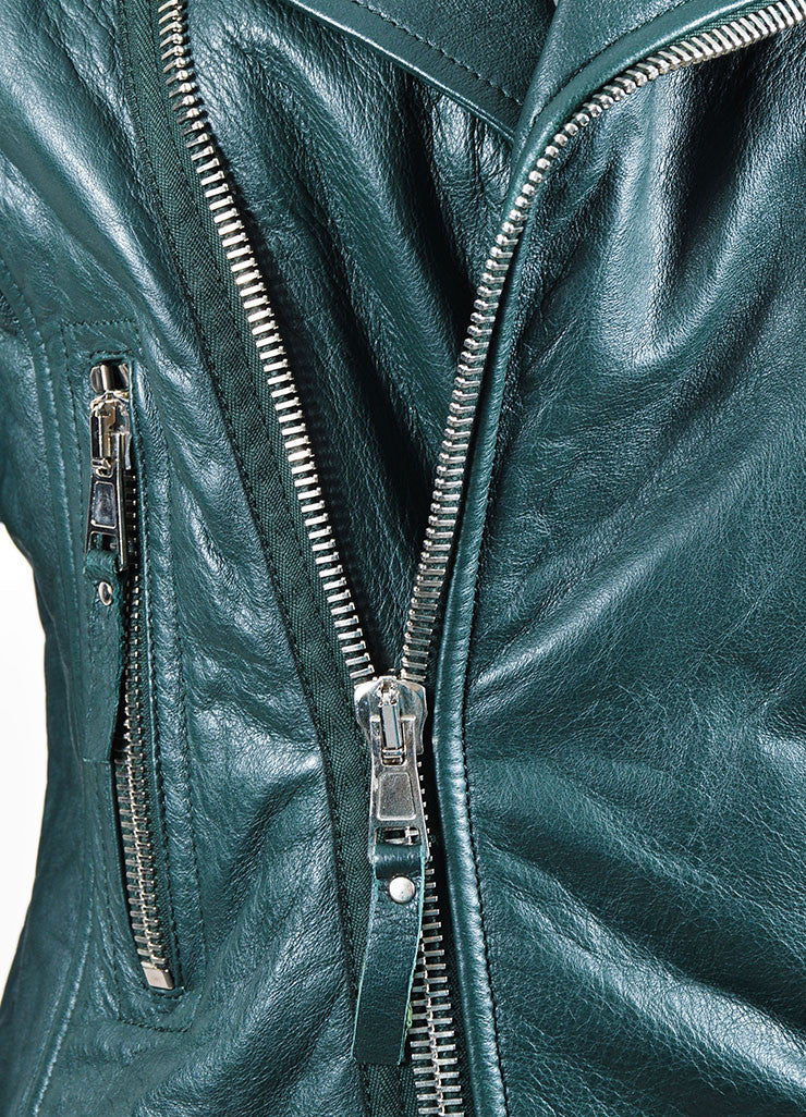 Dark Green Balenciaga Leather Long Sleeve Moto Jacket Detail