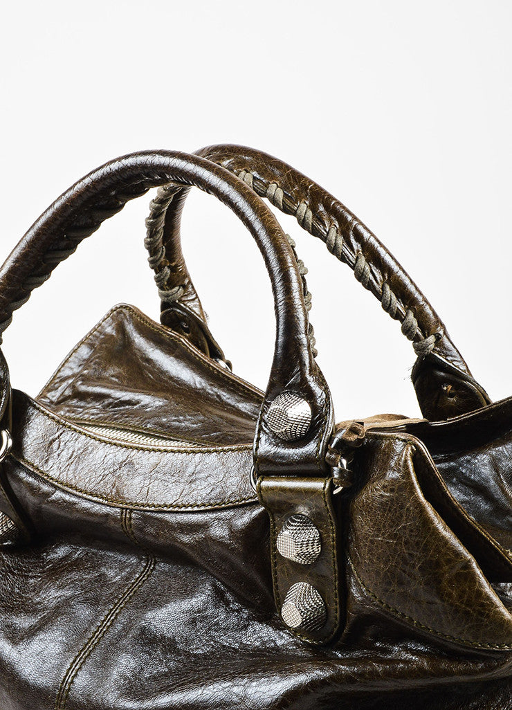 "Balenciaga Dark Olive Green Leather ""Giant 21 Brief"" Tote Bag Detail 4"