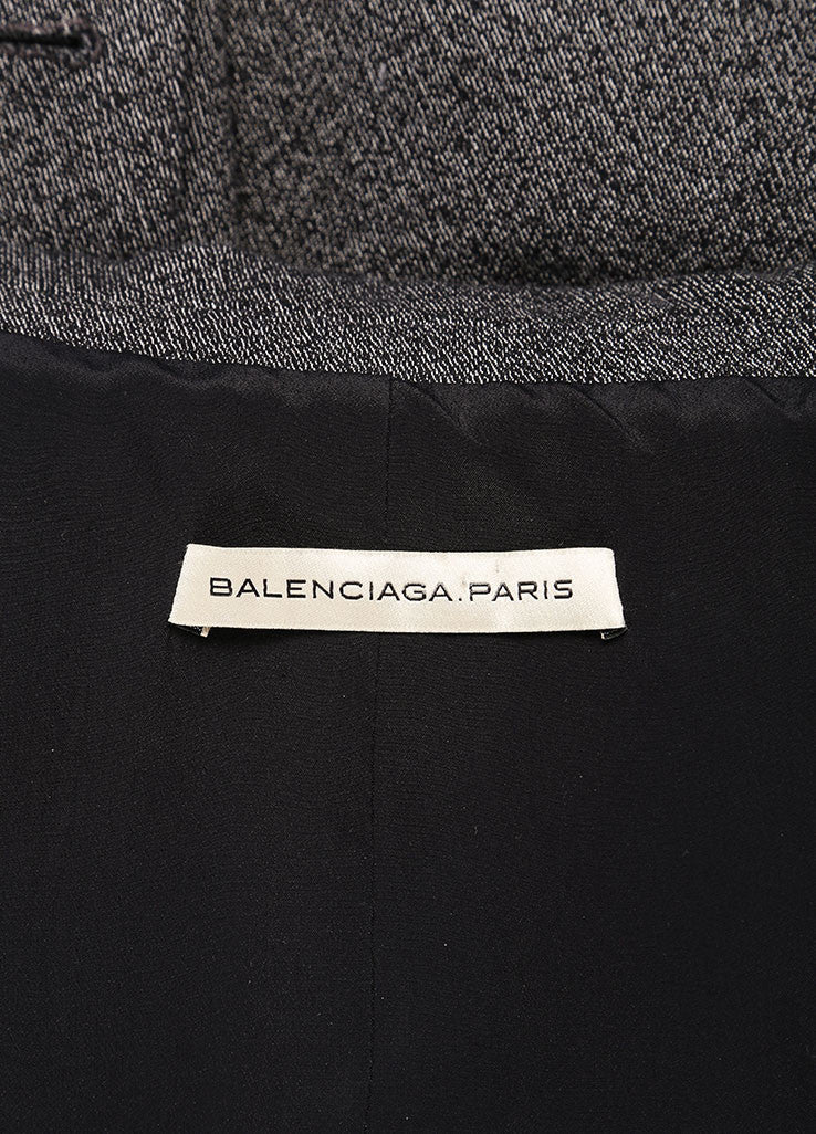 Balenciaga Grey and Black Speckled Stretch Cotton Long Sleeve Buttoned Blazer Brand