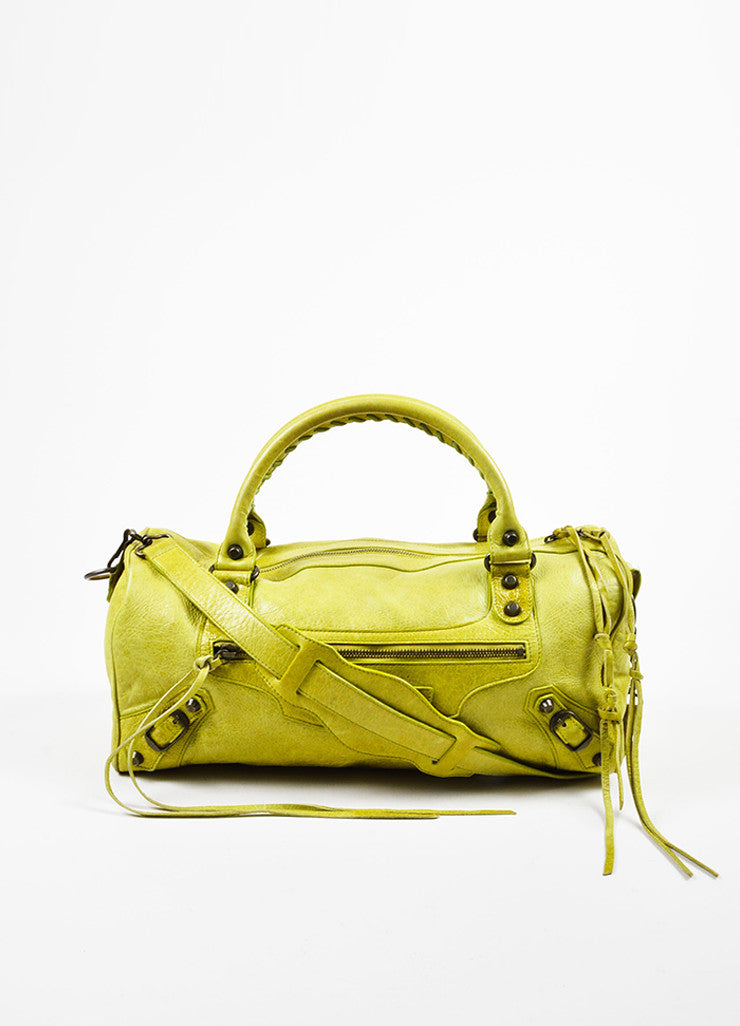 Lime Green Balenciaga Leather Pompon Studded Twiggy Bag Front