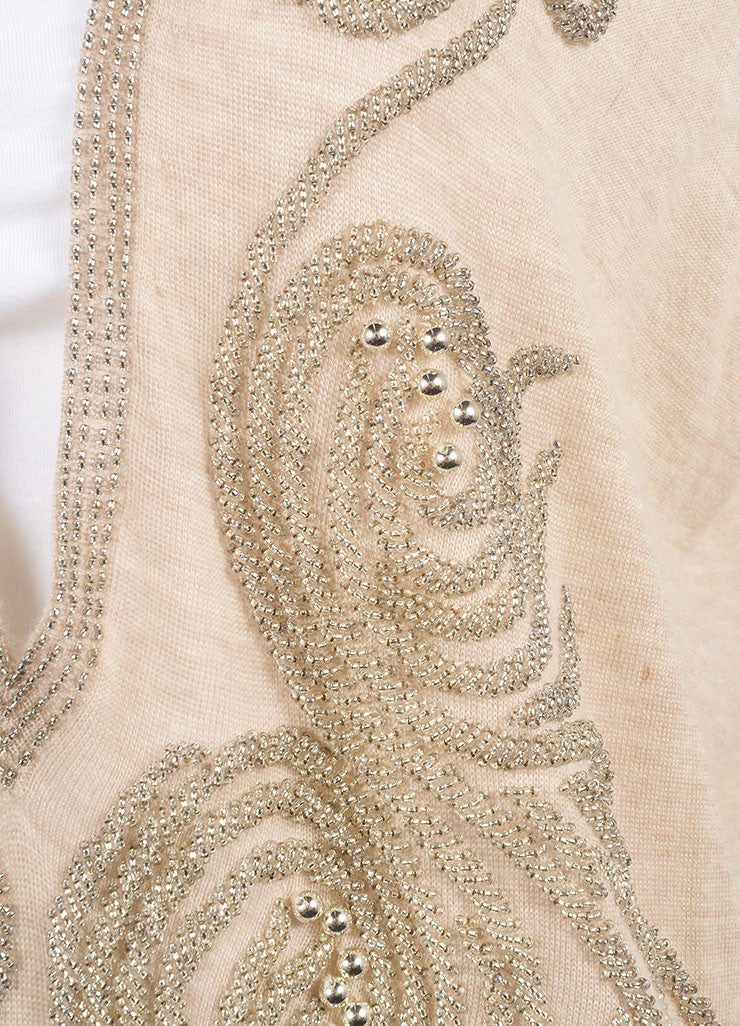 Balenciaga Tan and Silver Metallic Beaded Oversized Cashmere Sleeveless Vest Detail