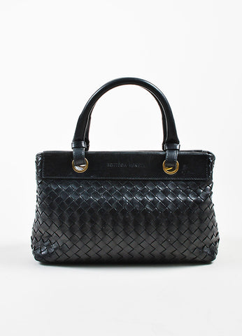 Bottega Veneta Black Leather Intrecciato Woven Handbag Frontview