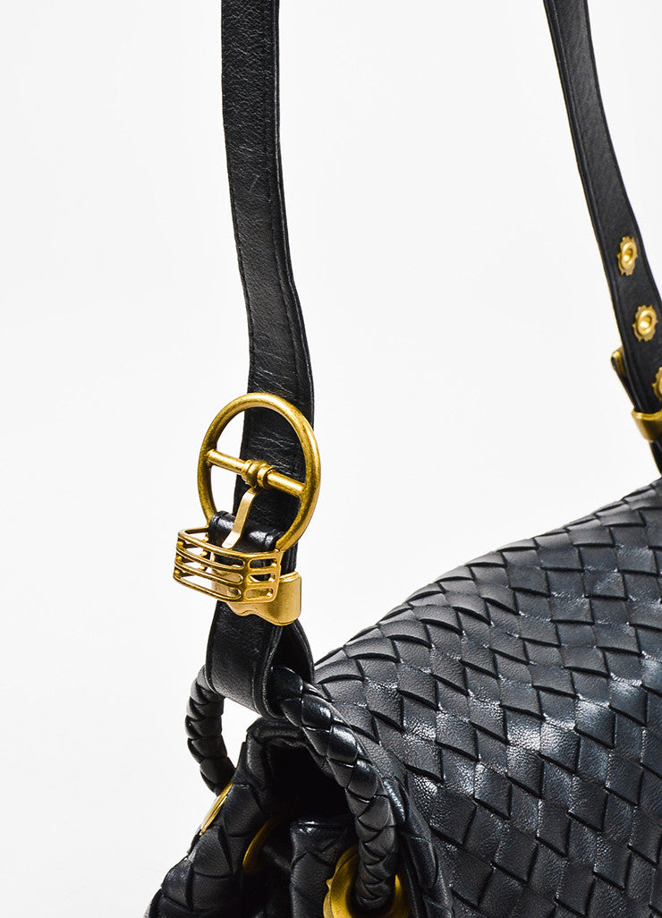 Bottega Veneta Black Woven Leather Flap Shoulder Bag