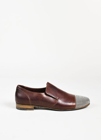 Brunello Cucinelli Brown Leather Silver Beaded Slip On Loafers Sideview