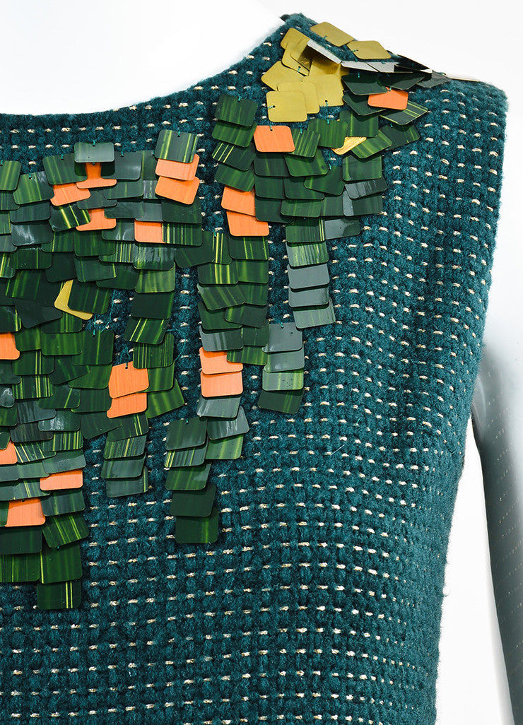 Chanel Hunter Green and Gold Wool Dotted Embellished Sleeveless Shell Top Detail