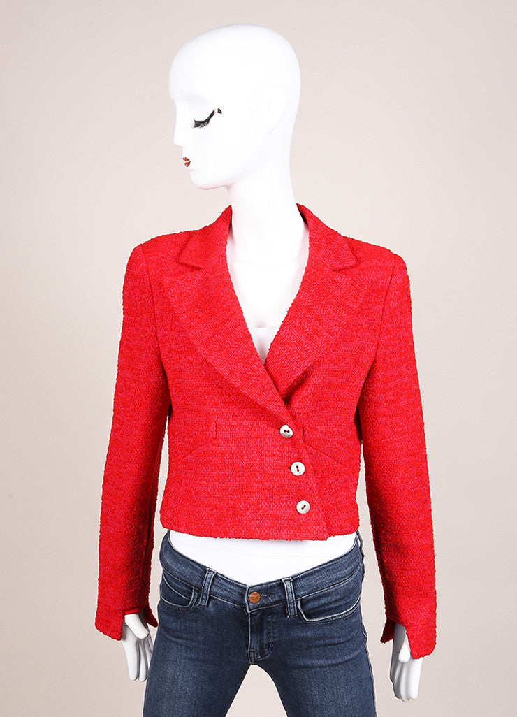 Chanel Red and Pink Wool Tweed Woven Knit Long Sleeve Jacket Frontview