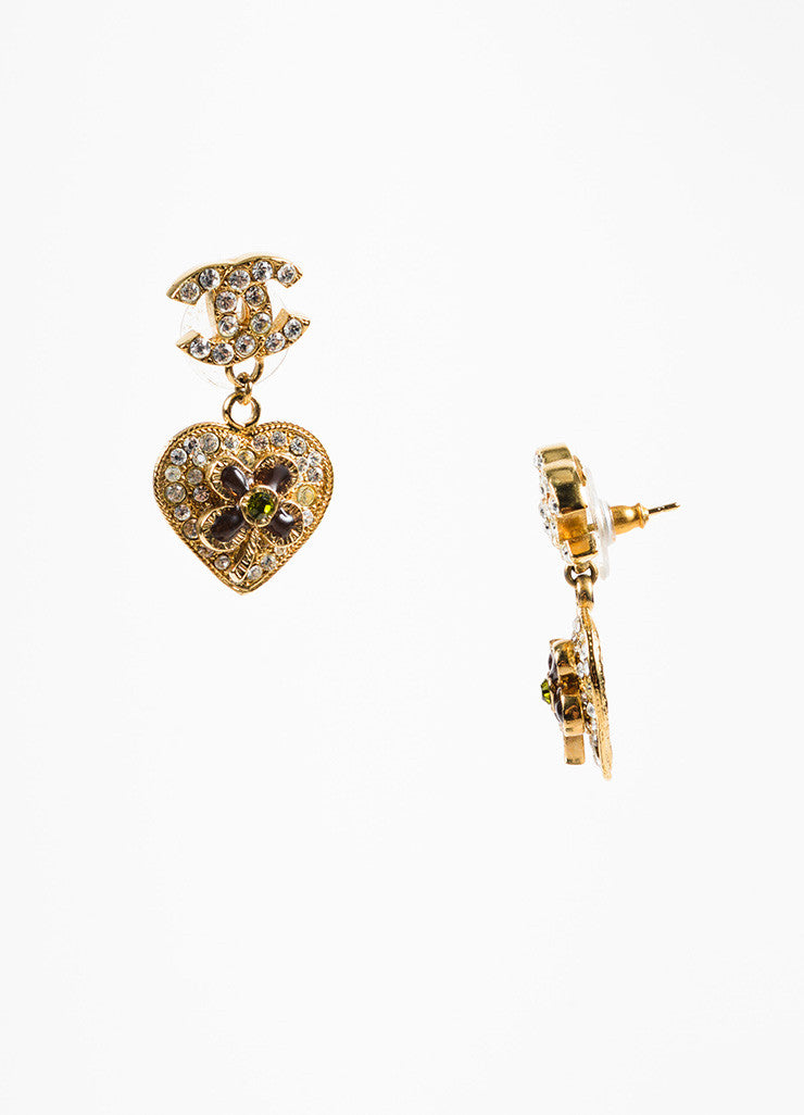 Chanel Gold Toned and Green Crystal and Gripoix Heart & Clover 'CC' Drop Earrings Sideview