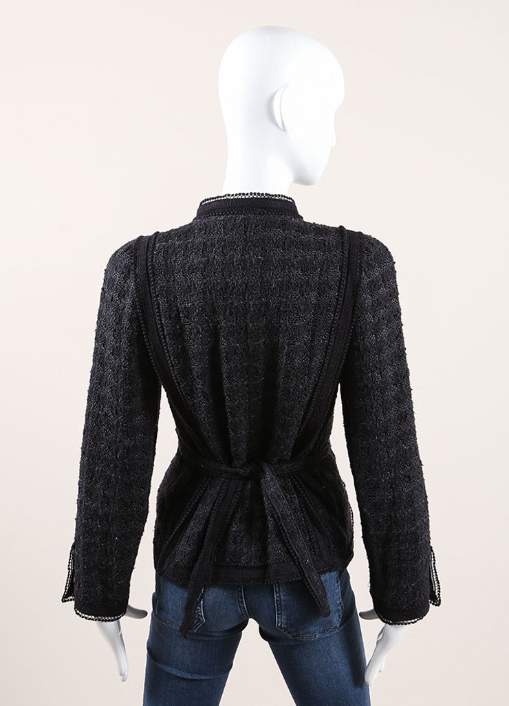Chanel Black and Navy Blue Cotton and Silk Tweed Tie Back Button Down Jacket  Backview