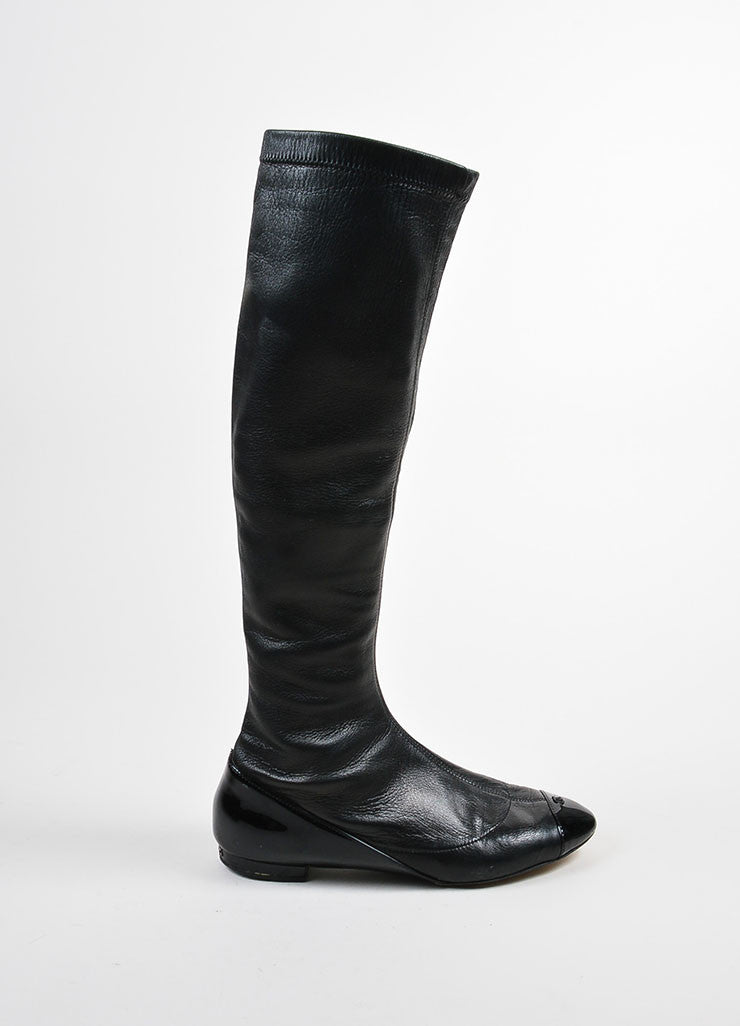 Chanel Black Lambskin Patent Leather Cap Toe 'CC' Tall Flat Boots Sideview
