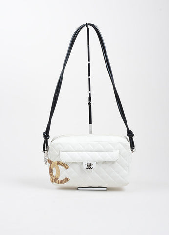 "White, Black, and Tan Leather Quilted Chanel ""Ligne Cambon"" Camera Case Bag Frontview"