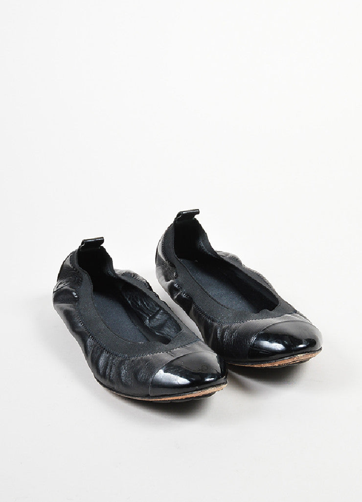 "Black Chanel Leather Patent Cap Toe Elastic ""Spirit"" Flats Frontview"