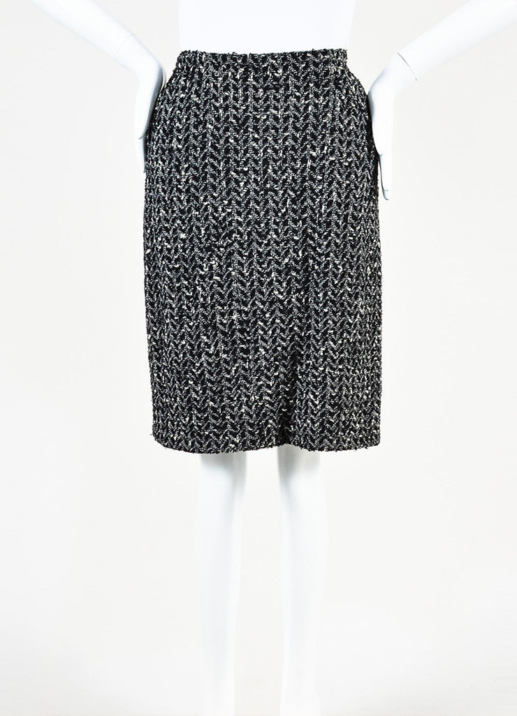 Chanel Black and White Wool Boucle Tweed Back Zip Pencil Skirt backview
