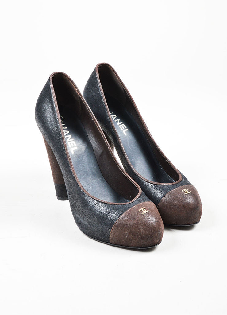 Black and Brown Chanel Suede Leather Platform 'CC' Cap Toe Pumps Frontview