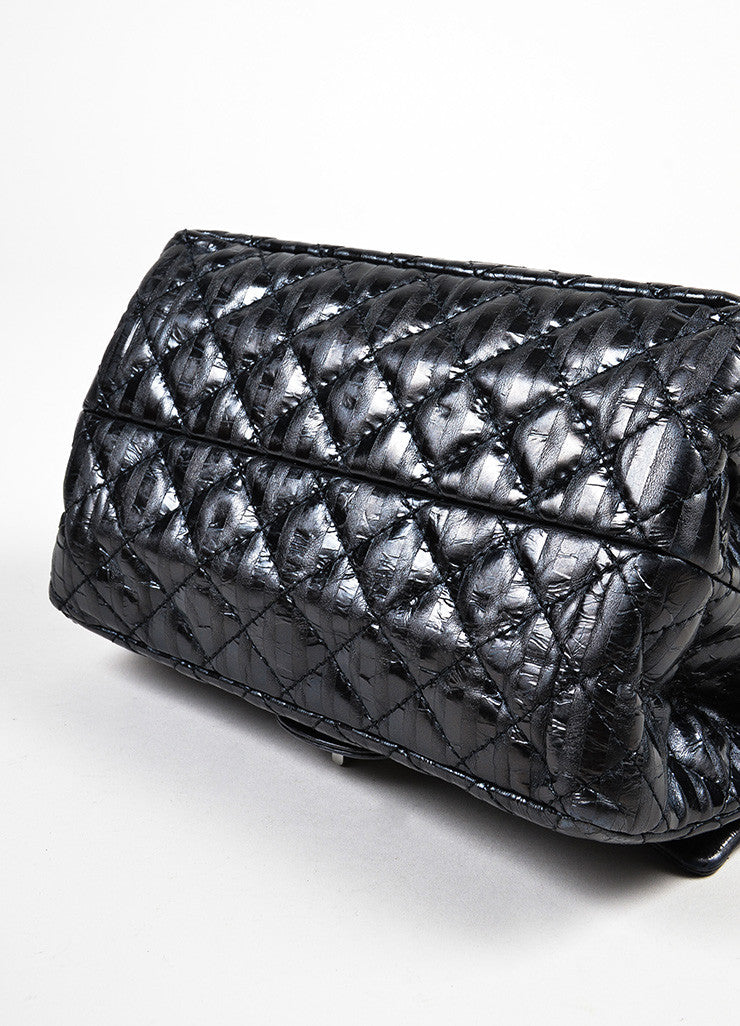 "Chanel Black Leather Metallic Stripe Quilted ""Accordion Reissue"" Chain Flap Bag Bottom View"