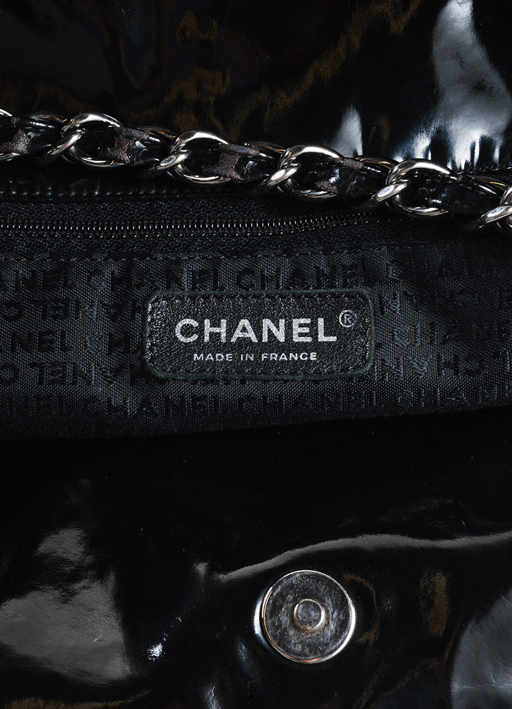 "Chanel Black Patent Vinyl CC ""Coco Cabas Jumbo XL"" Chain Strap Shoulder Bag Brand"