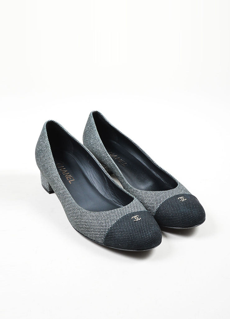 Black and Silver Chanel Suede Leather Metallic Mesh Cap Toe Ballerina Pumps Frontview