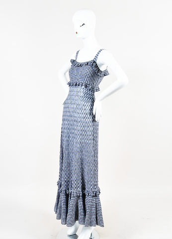 Chanel Black and White Knit Gingham Ruffle Tiered Sleeveless Maxi Dress Sideview