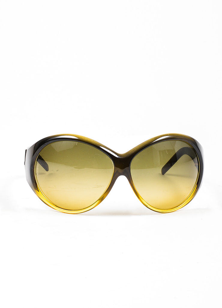 "Brown and Yellow Chanel Plastic Oversized Round ""6015"" Sunglasses Frontview"