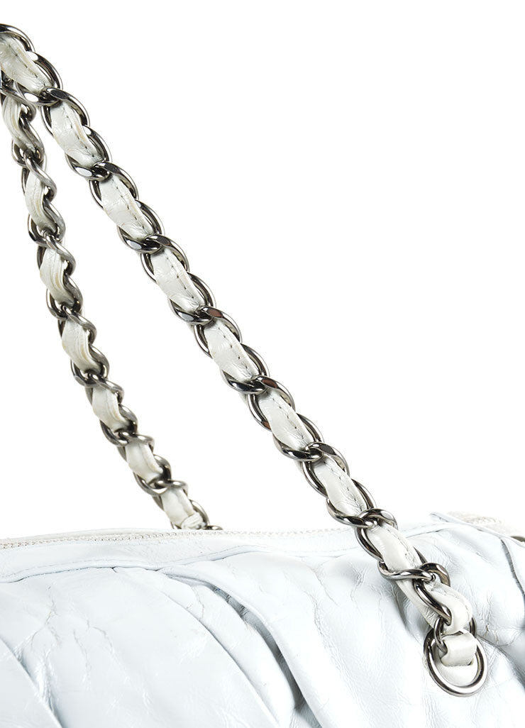"Chanel Grey Glazed Calfskin Leather Twisted Chain Strap ""CC"" Tote Bag Detail 2"