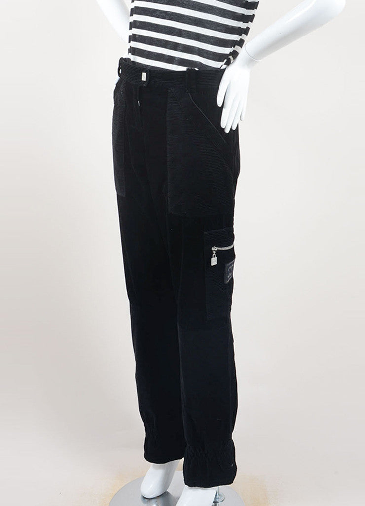 Chanel Black Cotton Corduroy Cargo Zip Wide Leg Pants Sideview