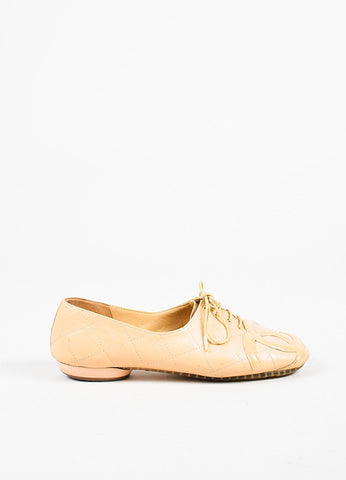 Chanel Nude Leather 'CC' Lace Up Oxfords Sideview