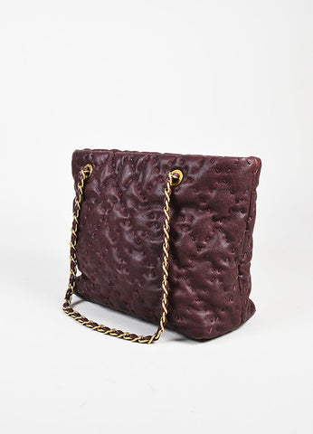 "Chanel Plum Caviar Leather Gold Toned ""On the Road"" Tote Bag Sideview"