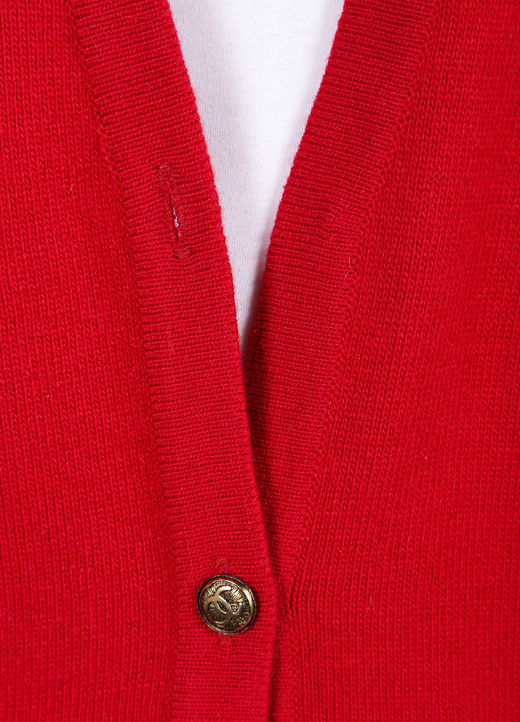 Chanel Red Cashmere Long Sleeve Front Button Cardigan  Detail