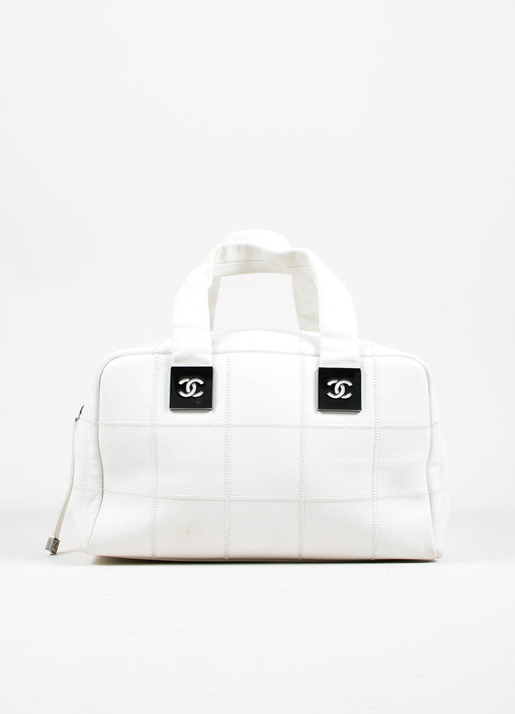 "White Pebbled Leather Quilted Chanel ""CC"" Zip Satchel Bag Frontview"