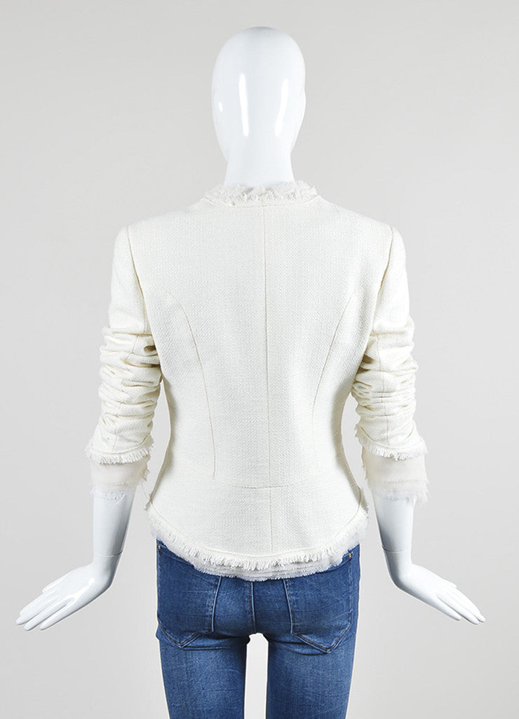 White Chanel Tweed Chiffon Flower Pin High Low Lady Jacket Backview