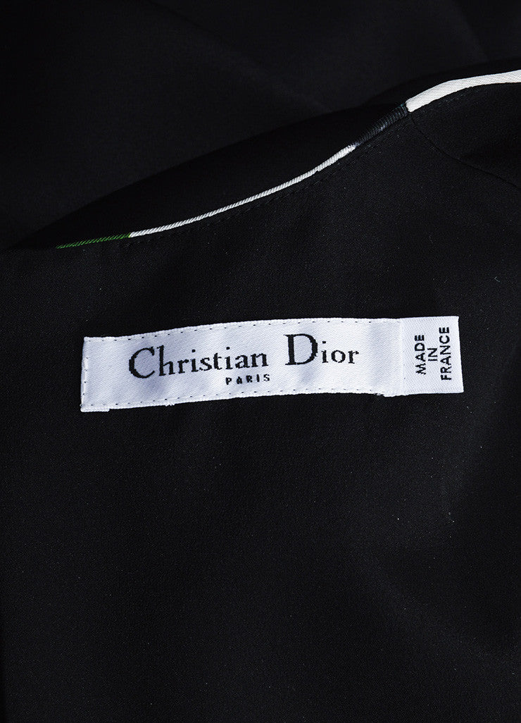 Black, Green, and White Christian Dior Silk Printed Gown Brand